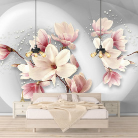 Fototapete 3D, Flori roz pe un fundal gri.