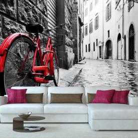 Fototapete Alb-Negru, Peisajul alb-negru cu o bicicletă roșie