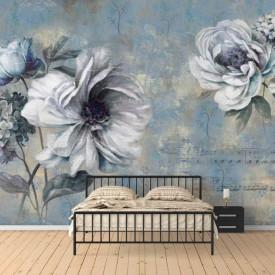 Fototapete, Flori albe pe un fundal albastru pal