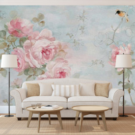Fototapete, Flori roz pe un fundal albastru