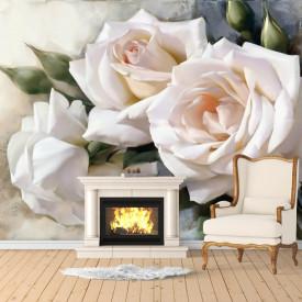 Fototapete, Trandafiri albi vopsite