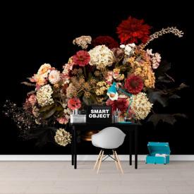 Fototapete, Un buchet de flori diferite pe fundal negru