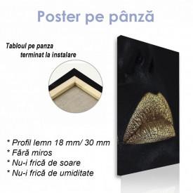 Poster, Buze aurii pe fundal negru 2