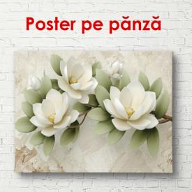 Poster, Flori albe mari cu frunze verzi pe un fundal bej.
