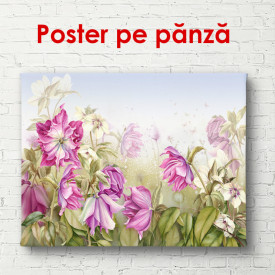 Poster, Flori roz pe un fundal verde