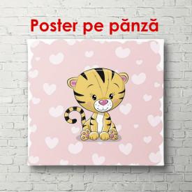 Poster, Pui de tigru pe un fundal roz cu inimi