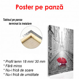 Poster, Umbrela roșie în alb-negru Paris