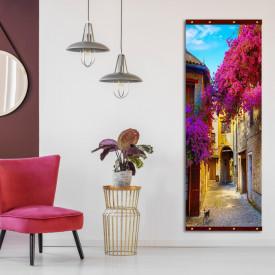 Rolap pe panza, Copaci roz pe fundalul unei curte galbene