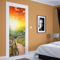 Stickere 3D pentru uși, Câmpul cu flori , 1 foaie de 80 x 200 cm