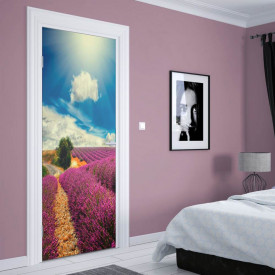 Stickerele decorative, pentru uși, Câmpul cu lavandă , 1 foaie de 80 x 200 cm