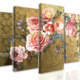 Tablou modular, Buchet de flori pe un fundal auriu