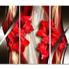Tablou modular, Flori roșii.