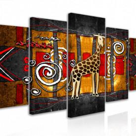 Tablou modular, Imagine abstractă a unei girafe în stil etno