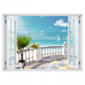 Fereastră falșă, Fereastră cu vederea spre un balcon cu o priveliște spre mare