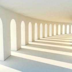 Fototapet 3D, Coridorul alb iluminat