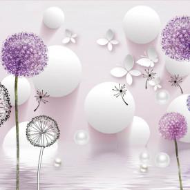 Fototapet 3D, Flori purpurii pe un fundal abstract