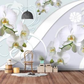 Fototapet 3D, Orhidee albe pe un fundal 3D
