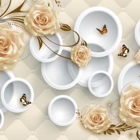 Fototapet 3D, Trandafiri bej pe un fundalul cu cercuri albe