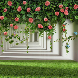 Fototapet 3D, Trandafiri cățărători