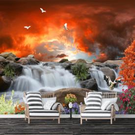 Fototapet, Apus de soare pe fundalul norilor de foc