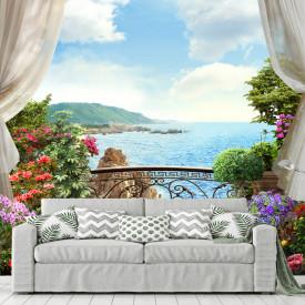 Fototapet, Balcon cu flori cu vedere la mare