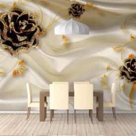 Fototapet, Bujorul de aur pe un fundal de mătase