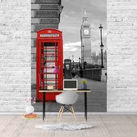 Fototapet, Cabină telefonică roșie și turnul cu ceas