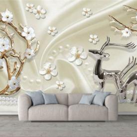 Fototapet, Cerbi și flori albe pe un fundal de mătase