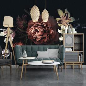 Fototapet, Coroană florală vintage pe fundal de grafit