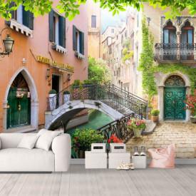 Fototapet, Curte frumoasă primăvara în Veneția