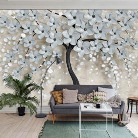 Fototapet Fantezie, Copacul cu flori albastre pe un fond gri