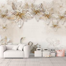 Fototapet, Flori albe și lebede pe un fundal delicat