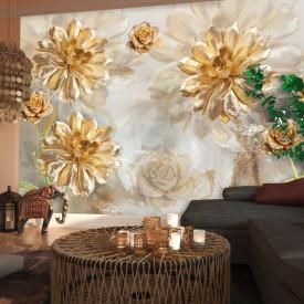 Fototapet, Flori aurii pe un fundal abstract bej