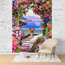 Fototapet Fresco, Fototapete cu un balcon înflorit arcuit