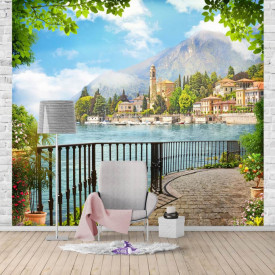Fototapet Fresco, Un balcon cu vedere la oraș de-a lungul lacului