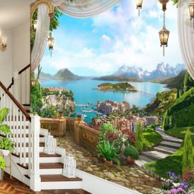 Fototapet, Grădină cu priveliște la lac și la munți