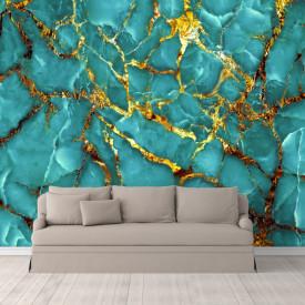 Fototapet, Marmură de culoare turcuaz cu aur