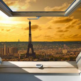 Fototapet, O fereastră cu Priveliște la Paris seara