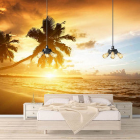 Fototapet, Palmieri pe malul mării