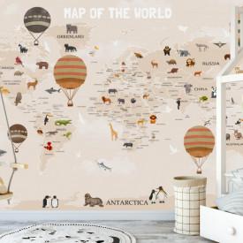Fototapet pentru copii, Harta lumii cu animale