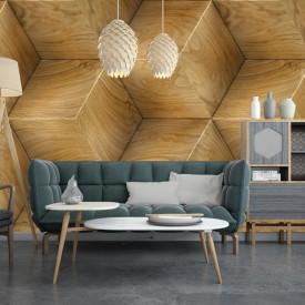 Fototapet, Perete geometric din lemn