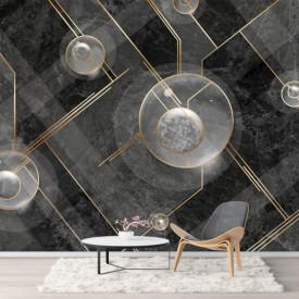 Fototapet, Perete texturat gri cu elemente aurii