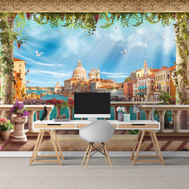 Fototapet, Priveliște a Veneției de la balcon