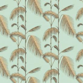 Fototapet, Ramuri de palmier bej pe un fundal albastru