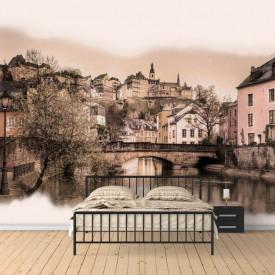 Fototapet, Un oraș liniștit în culori bej