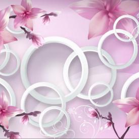 Fototapete 3D, Flori roz și cercuri albe.