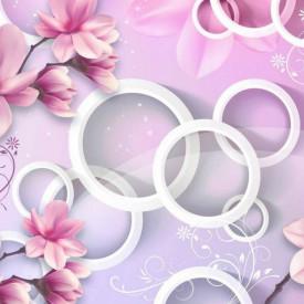 Fototapete 3D, Flori și cercuri pe fundal alb