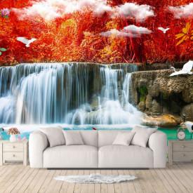 Fototapete 3D, Frunze roșii de toamnă
