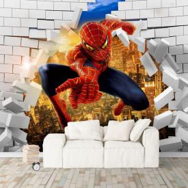 Fototapete 3D, Spiderman pe fundalul unui perete spart