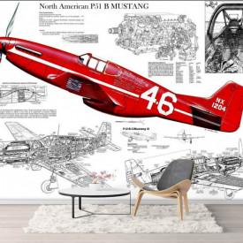 Fototapete, Avion roșu pe fundalul schemei avionului.